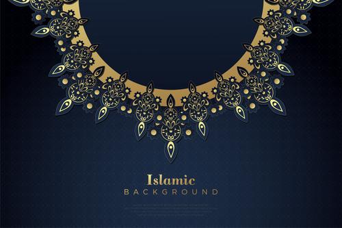 Golden flower decoration background vector