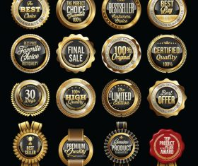 Golden sale badges sticker vector