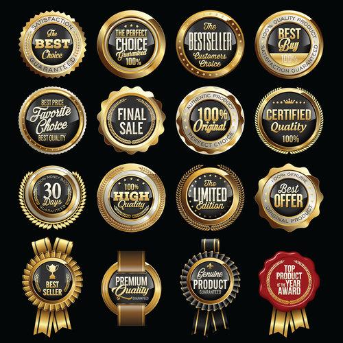 Golden sale badges sticker vector