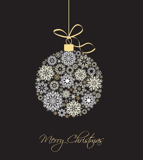 Golden white christmas balls vector