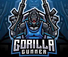 Gorilla gunner esport mascot logo vector