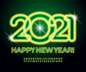 Green 2021 numbers vector