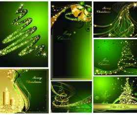 Green Christmas card cover design vector