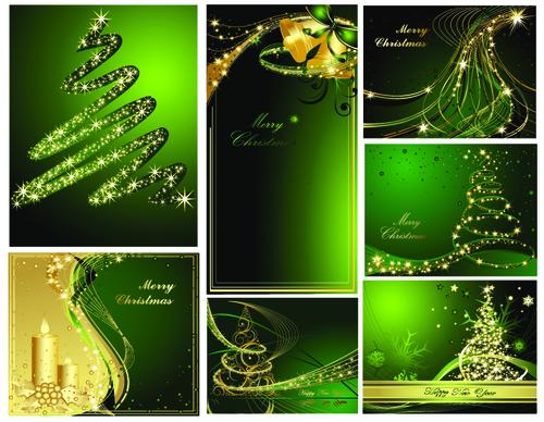 Green Christmas card cover design vector