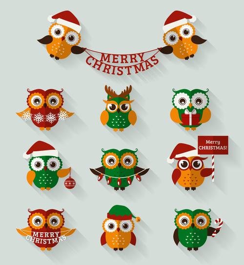 Green flat christmas owls set vector