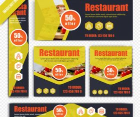 Green healthy food restaurant poster vector