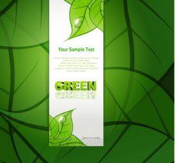Green leaf background text design vector