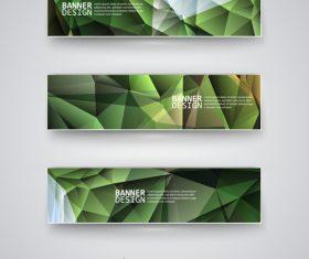 Green polygonal banner vector