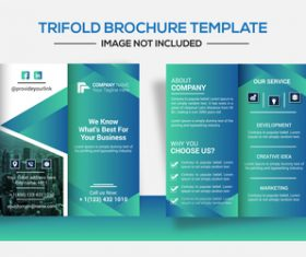 Green trifold business brochure design vector