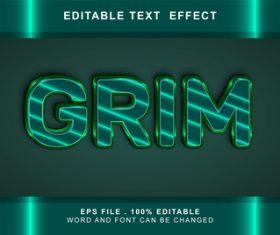 Grim 3d editable text style effect vector