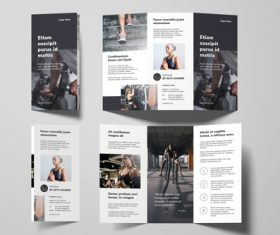 Gym tri fold brochure template vector