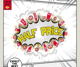 Half price comic bang vector