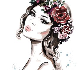 Hand drawn beautiful young girl vector