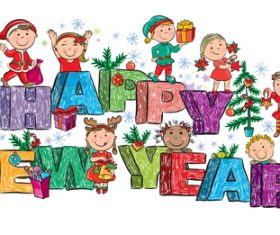 Hand drawn christmas happy children vector