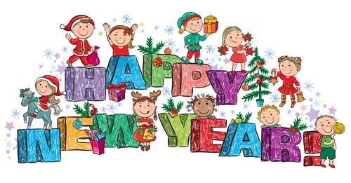 Hand drawn christmas happy children vector