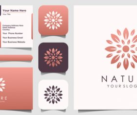 Hand drawn flower business card logo vector