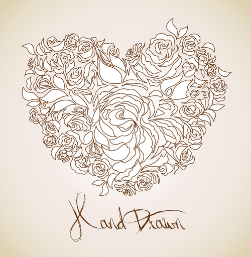 Hand drawn heart pattern vector