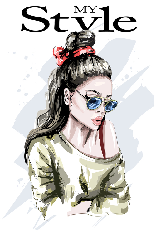 Hand drawn hipster girl vector