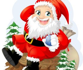 Happy Santa Claus holding Christmas balls vector