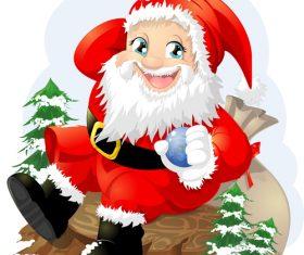 Happy Santa Claus holding Christmas balls vector