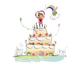 Happy birthday hand drawn illustration vector