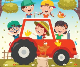 Happy children and tractor vector