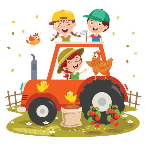 Happy children on tractor vector