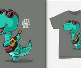 Happy dinosaur and T-shirt printing design vector