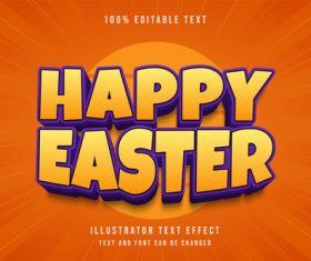 Happy easter 3d editable text vector
