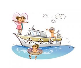 Happy family sitting on yacht out to sea concept illustration vector