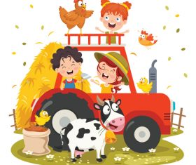 Happy farm children vector