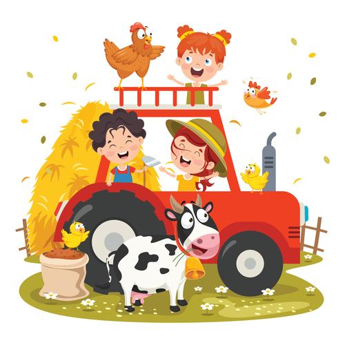 Happy farm children vector