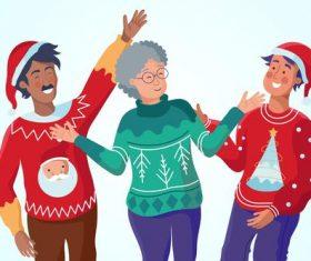 Happy grandmother and grandson cartoon vector
