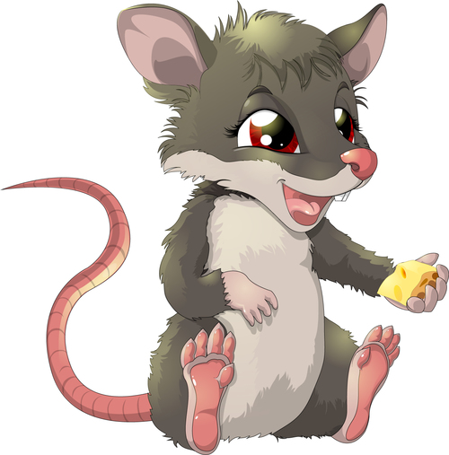 Happy mouse cartoon vector holding cheese