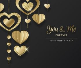 Heart of gold Valentine's Day greeting card vector