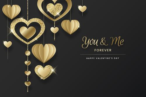 Heart of gold Valentines Day greeting card vector