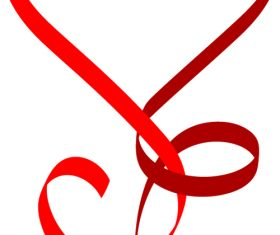 Heart-shaped ribbon vector