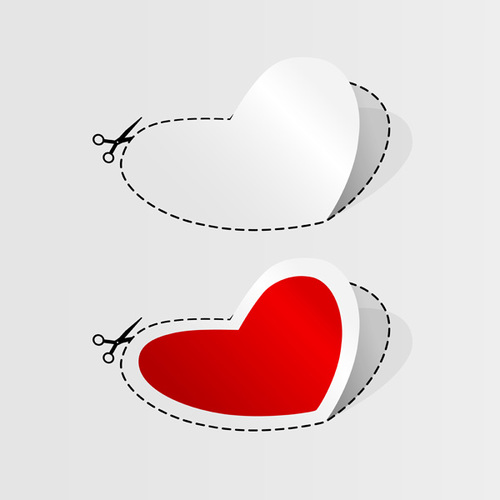 Heart shaped sticker vector