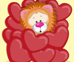 Hearts around the lion cartoon vector