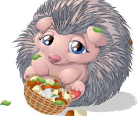 Hedgehog cartoon vector holding food blue
