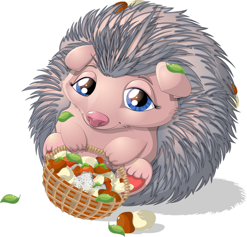 Hedgehog cartoon vector holding food blue