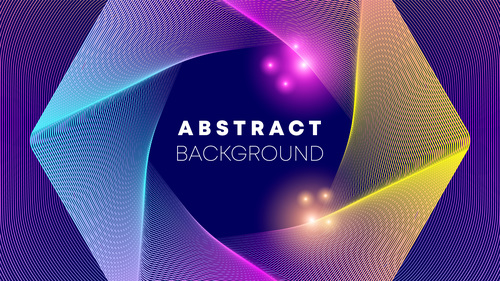 Hexagon shaped gradient glowing abstract background vector