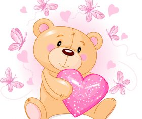 Holding a heart-shaped teddy bear vector