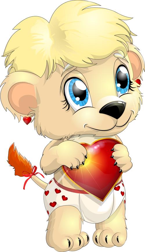 Holding heart shaped little lion vector