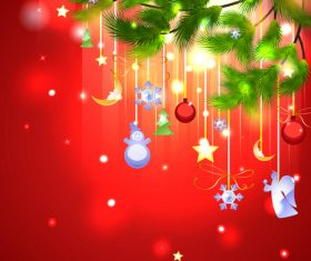 Holiday beautiful christmas tree decorations vector