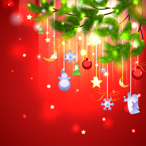 Holiday beautiful christmas tree decorations vector