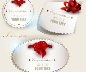Holiday label sticker vector with bow