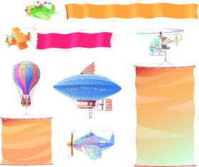 Hot air balloon airplane and banners vector
