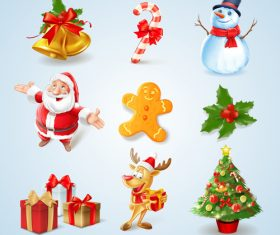 Icon xmas cartoon vector