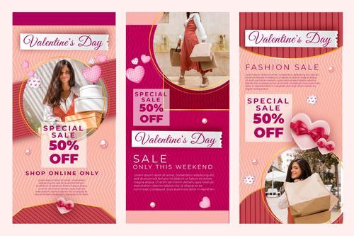 Instagram posts valentine vector